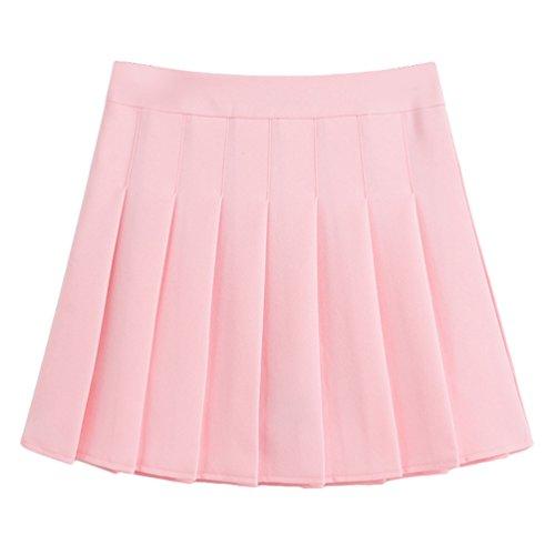 Courte Polyester Jupes Patineuse Elastique pink Plisse Casual Patineuse Heheja En Jupe vase Femmes Courte HRaRgZ