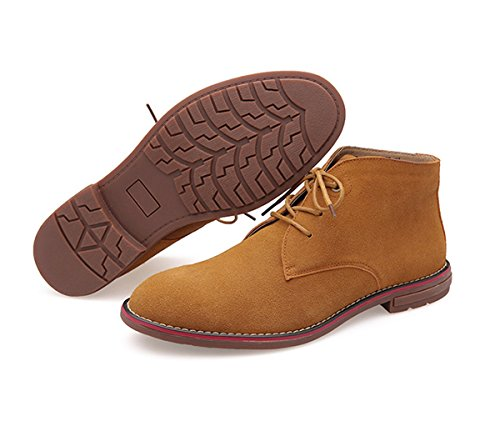 Minishion Mens Spets-up Mocka Modebranschen Fotled Klänning Boots Brun