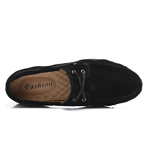 para Driving Suela Gris Lace Genuino tamaño Shufang UP Color Penny Mocasines shoes Plana Mens EU Suave Hombre Mocassins 2018 Zapatos Negro Cuero Loafers 44 nqHxp0Hwtf