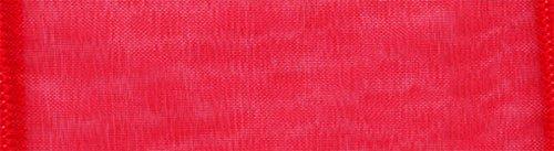 Morex Ribbon Wired 1-Inch Chiffon Ribbon with 25-Yard Spool, Red