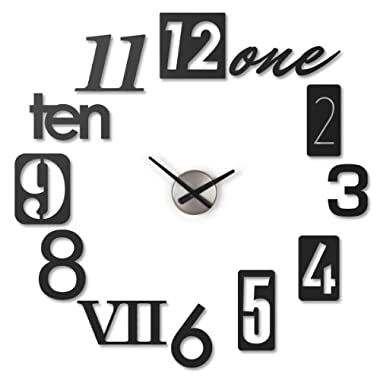 Umbra Numbra Wall Clock, Black