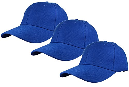 (Gelante Plain Blank Baseball Caps Adjustable Back Strap 3 PC-001-Royal Blue )