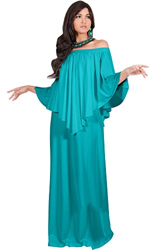 KOH KOH Womens Long Strapless Shoulderless Flattering Cocktail Evening Off The Shoulder Cold Sexy Evening Flowy Formal Slimming Gown Gowns Maxi Dress Dresses, Turquoise L 12-14 -