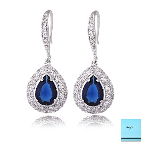 Sapphire Earrings for Women - Silver Bridal Teardrop Blue Crystal Cubic Zirconia Drop Earring for Wedding Party Prom Fashion Jewelry for Bride Bridesmaids September Birthstone Birthday ()