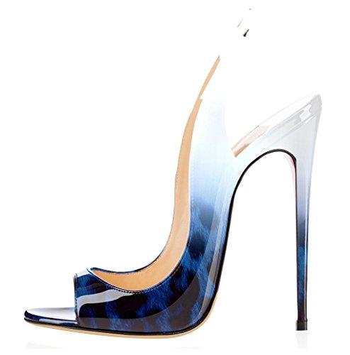 Slingback Cinturino Scarpe a Caviglia Donna Blu Toe Tacco elashe Fibbia Sandali con Spillo Peep da Leopardo fpaqnngwT
