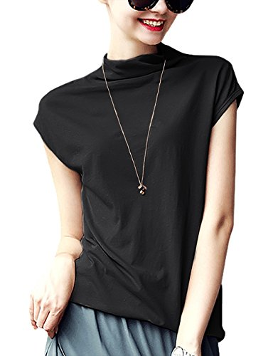 Black Mock Neck Shirt - Lyoye Women's Cotton Mock Neck Sleeveless Top Tanks Turtleneck Blouse Plain Shirt Black L
