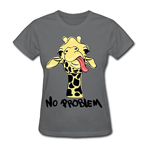 Women's Funny Giraffe Quote Summer Graphic T Shirt Short Sleeve Tees(No Problem) (Womens Pink T-shirt Problem)