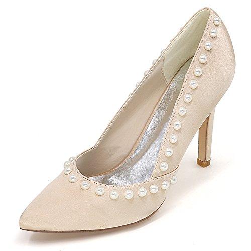 Tall Donna 9 Punta Heels Scarpe Shoes 5cm Champagne Prom Elobaby Party da Sposa Court Heel Perla Stiletto a w60qCgtq