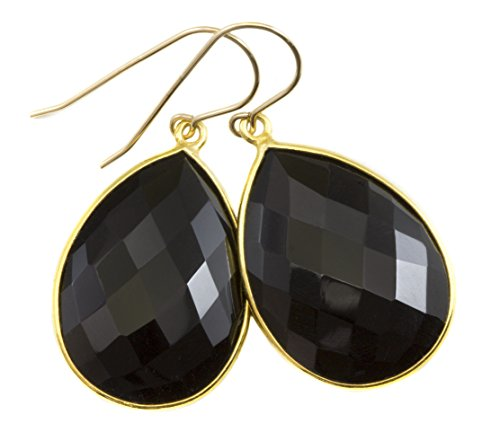 14k Gold Teardrop Bezel - 14k Gold Black Onyx Earrings Large Teardrops Goldtone Bezel Setting Faceted Drops