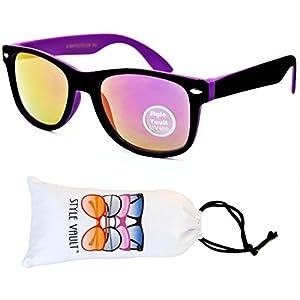 Kd04-vp Kids Child (2-10yr Old) Wayfarer 80s Sunglasses (S3239V Black/Purple-Amethyst Mirror, smoked)