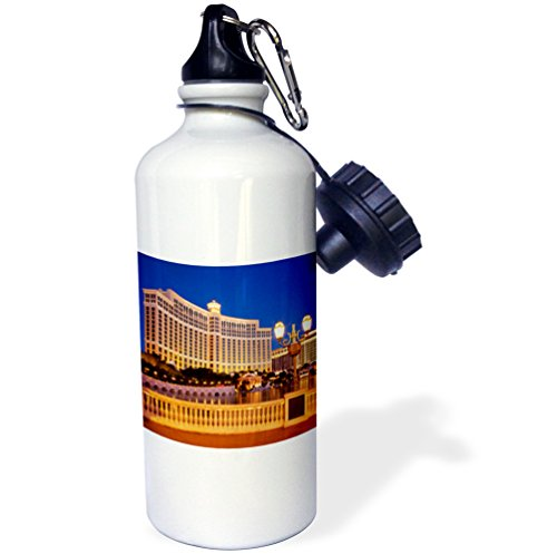 "3dRose wb_145032_1""Bellagio Hotel and Casino, Las Vegas, Nevada, USA-US29 BJN0005-Brian Jannsen"" Sports Water Bottle, 21 oz, White"