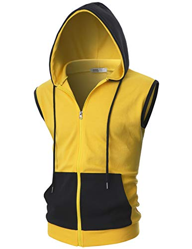 OHOO Mens Slim Fit Sleeveless Lightweight Zip-up Costume Hooded Vest with Single Slide Zipper/DCF052-YELLOW/BLACK-XL
