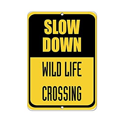 Cutadornsly Yard Fence Garage Decorative Sign Slow Down Wild Life Crossing Traffic Sign Safety Sign Metal Pet Sign Gift
