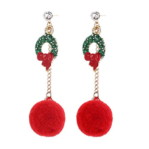Christmas Wreath Earrings Drop Dangle Earring, Holiday Party Jewelry