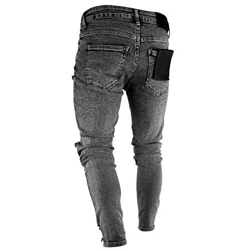 Pantaloni Mens Jeans Ginocchio Cerniera E Grigio Piedini Sfilacciati Aiweijia Feet Sul Slim Fit Skinny Strappati Con XSqdd