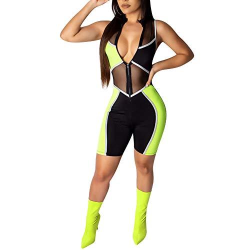 acelyn Women's Bodycon Sleeveless Romper - Zipper Sheer Mesh Color Block Biker Short Rompers Jumpsuits Tracksuits Green Medium
