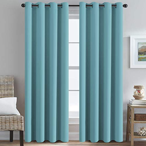 H.VERSAILTEX Thermal Insulated Blackout Drapes Soft and Smooth Microfiber Formaldehyde-Free Curtains for Nursery,Grommet Window Panels,52 by 84 - Inch - Aqua - Set of 2 (Blue Chocolate And Drapes)
