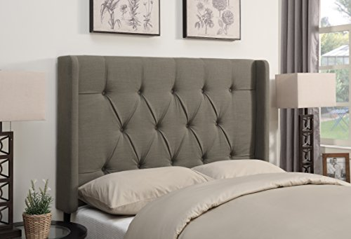 Pulaski Shelter Button Tufted Upholstered Headboard, Taupe, Full/Queen