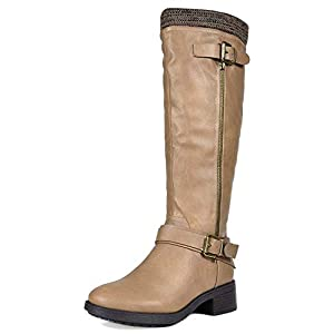 DREAM PAIRS Women's Knee High Riding Boots (Wide-Calf)