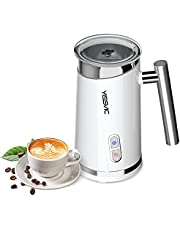 Milk Frother Electric Automatic YISSVIC Electric Milk Steamer Large Capacity Hot or Cold Milk Froth Silent Operation for Cappuccino, Latte(White)