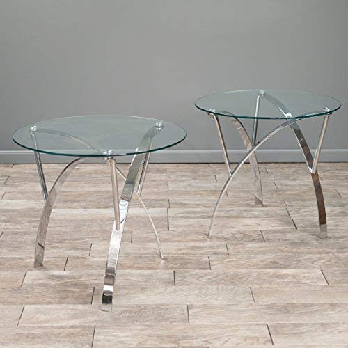 Christopher Knight Home Davina Tempered Glass Round End Tables w Chrome Legs Set of 2 , Clear