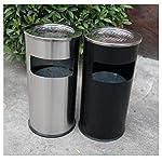Basura-puede-Bote-de-basura-Bote-de-basura-al-aire-libre-cilindrico-Papelera-de-Reciclaje-del-jardin-de-cocina-con-la-tapa-Vestibulo-Zona-de-fumadores-Cenicero-de-acero-inoxidable-Negro-Papelera-Papel