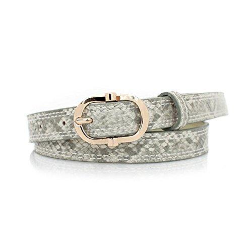 Ya Jin Snakeskin Pattern Women's Belts Leather Jean Belt With Gold Alloy Buckle
