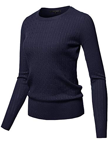 Knit Round Sweater Neck - Awesome21 Solid Long Sleeve Round Neck Cable Knit Sweater Navy Size M