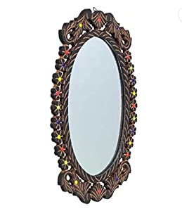 The Bells Wooden Oval Shape Decorative Wall Mirror/Makeup Mirror with Glass Beads (18 X 12 Inches)