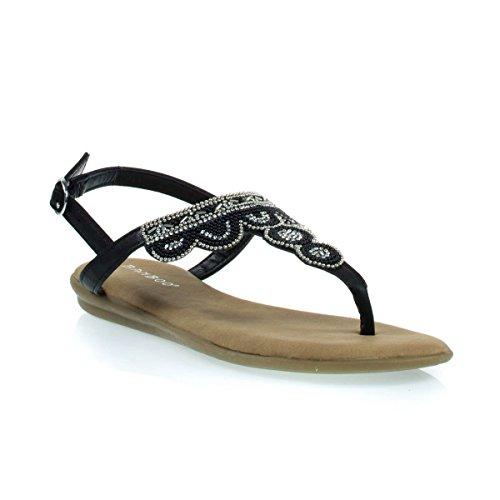 Comodo Sandalo Piatto Imbottito Con Perle Tribali Ispirate E Strass Neri