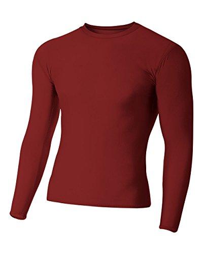 - A4 Sportswear Cardinal Adult Small Long Sleeve High Performance Compression Moisture Wicking Shirt