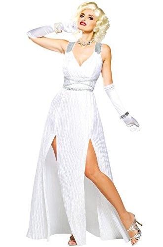 Hollywood Goddess Marilyn Monroe White Dress Womens Sexy 1950s Costume (Marilyn Sexy Women Costume)