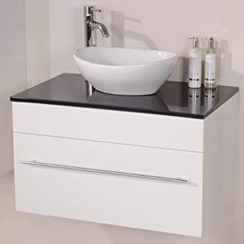 750 Vanity Unit With Vessel Basin For Bathroom Ensuite Cloakroom   Wall  Hung Soft Closing Luxury Design   Black Sparkle Mineral Cast Worktop    Modern ...