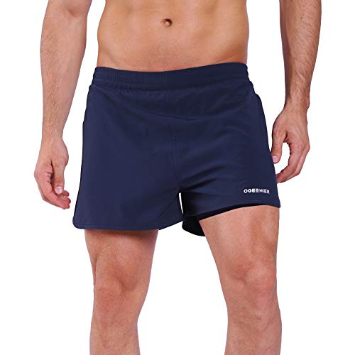 Ogeenier Men's Lightweight 2 in 1 Running Shorts with Zip Pocket Workout Training Gym Shorts