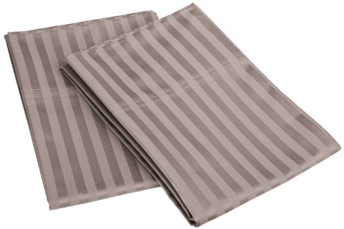 100% Egyptian Cotton 650 Thread Count Standard 2-Piece Pillowcase Set, Single Ply, Stripe, - Grey Single Stripe