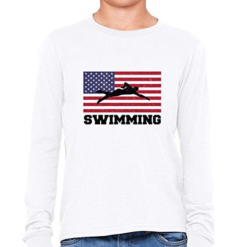 USA Olympic - Swimming - Flag - Silhouette Girl's Long Sleeve ()