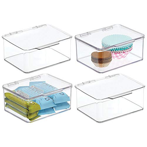 mDesign Plastic Stackable Kitchen Pantry Cabinet/Refrigerator Food Storage Container Box, Attached Lid - Organizer for Coffee, Tea, Packets, Snack Bars - BPA Free, Food Safe - 4 Pack - Clear