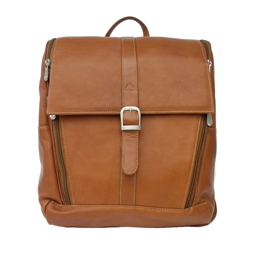 Piel Leather Slim Computer Backpack, Saddle, One Size