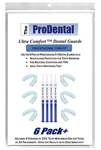 ProDental Thin & Trim Mouth Guard for Grinding Teeth - 6 Pack, USA Made | BONUS: Teeth Whitening Gel 4 Pack Included | Night Guard Stops Bruxism - Teeth Clenching | Customizable Dental Guard - No BPA