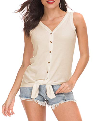 I2CRAZY Blouses for Women Tie Knot Loose Fit Sleeveless Casual Tops Button Down Waffle Knit Shirts - S, Beige ()