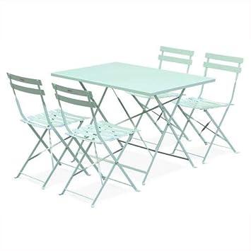 Salon de Jardin bistrot Pliable - Emilia rectangulaire Vert anis - Table  110x70cm avec Quatre chaises Pliantes, Acier thermolaqué