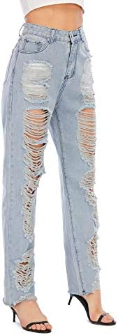 41cMzFHvDwL. AC Nother Women's Casual Jeans Torn Distressed Jeans    Material: 80%cotton and 20%polyester. High quality stretchy material can increase the convenience of activity and make it be durable and comfortable to wear all day.Features:Denim fabric for washed effect, it is both stretchy and durable, skinny style jeans with asymmetric distressed details at knee.Design:Slim through hip and thigh shows a perfect body curve. Zipper fly and utility pockets are practically for daily life.Occasion: home casual pants; shopping; holiday; street fashion; daily wear.Contact us:Please contact us,if you are not completely satisfied with the item.We will try our best to solve your problem as early as we can.