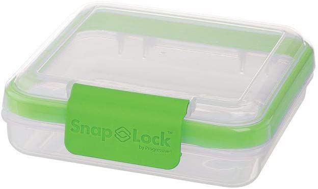 SnapLock by Progressive Sandwich To-Go Container - Green, Easy-To-Open, Leak-Proof Silicone Seal, Snap-Off Lid, Stackable, BPA FREE
