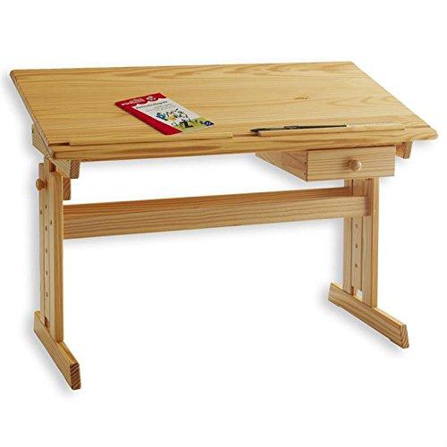IDIMEX Bureau enfant écolier junior FLEXI table à dessin réglable en hauteur et pupitre inclinable avec 1 tiroir en pin massif vernis naturel