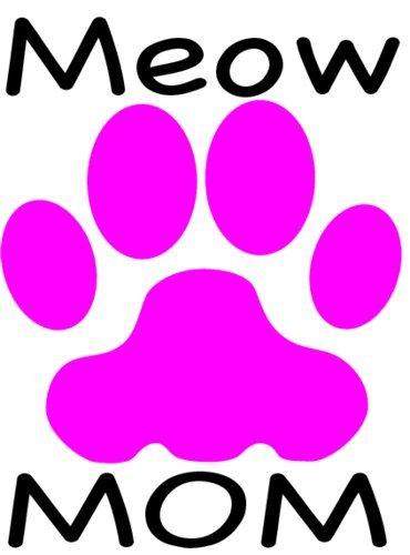 CAT Mom Decal - Pink Cat Paw MEOW MOM Vinyl Sticker - Cat...