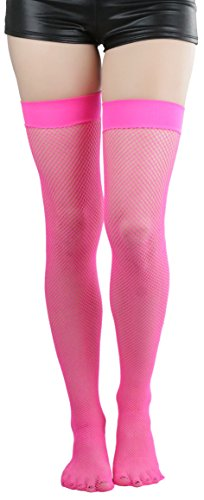 Hot Pink Fishnet Stockings (ToBeInStyle Women's Bright Exotic Long Fishnet Thigh High Socks Hosiery - Hot Pink - One Size:)