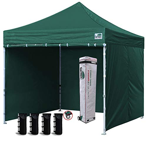 Eurmax 10x10 Ez Pop Up Canopy Outdoor Canopy Instant Canopies with 4 Zipper Sidewalls and Roller Bag,Bouns 4 Weight Bags (Forest Green) ()