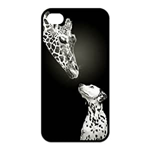 iPhone 4/4S Case, Giraffe in Love with Dalmatian Hard TPU Rubber Snap-on Case for iPhone 4 / 4S