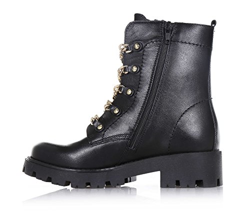 on front and with lateral stitching sole boot small the visible decorative chains of Black Girls CULT made Girl Women zipper Child leather rubber FPpOpw