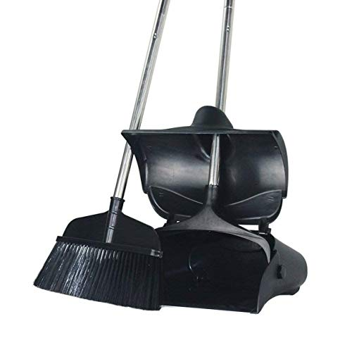Long Handle Broom and Dustpan Set Commercial Sweep Set and Lobby Broom Upright Grips Sweep Set with Broom, Adjustable Height, Black